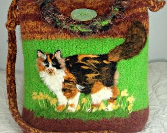 Felted purse, felted handbag, Calico Cat, cat art, needle felt cat