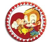 "50% OFF - Valentine Retro Monkey Love Pocket Mirror, Magnet or Pinback Button - Favors - 2.25""-  MR495"