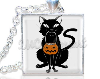 "Black Cat Trick or Treat 1"" Square Glass Pendant or with Necklace - SQ107"