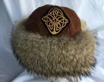 Beautiful Mongolian, Russian, Cossack, Norse, Celtic, brown wool hat, with Celtic knot work and coyote fur