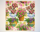 1980s Any Occasion Gift Wrapping Paper Potted House Plants Planters Gift Wrap