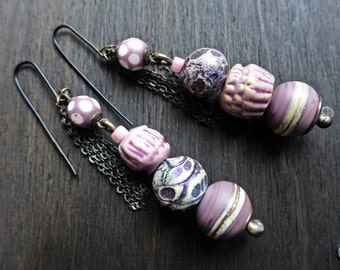 Elysian- lavender art bead earrings- rustic handmade artisan jewelry.