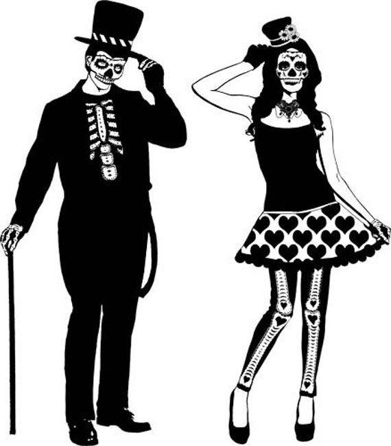 skeleton zombie day of the dead couple clipart png clip art digital image download skulls graphics art printables dia de los muetos