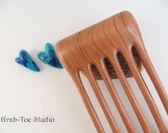 Cherry Wood Hair Fork,OOAK 6 Prong Hairfork,Wooden Hairfork,Hair Forks,Hairforks,Hair Stick,Hairsticks wood,Wood Hair Sticks,Man Bun
