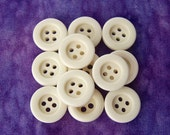 Small White Buttons 15mm - 5/8 inch Warm White Glossy Plastic Buttons - 12 VTG NOS Concave Opaque Ivory White Sew Through Buttons PL378 bb