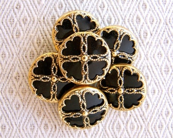 Vintage Flower Buttons, 19mm 3/4 inch - Black and Gold Victorian Flower Buttons - 8 VTG NOS Black Plastic Buttons with Gold Metal Rims PL293