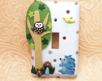 Hedgehog and Brown Owl, Woodland Light switch Cover on White