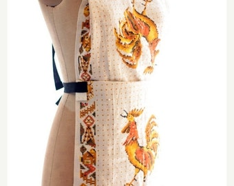 Sale apron, full size vintage tea towel, tea towel apron gold, white and yellow Rooster