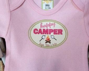 Happy Camper Pink Bodysuit, baby bodysuit, baby girl bodysuit, Girls bodysuit, Girls outfit
