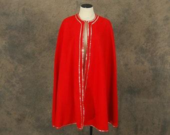 vintage 60s Costume Cape - 1960s Unisex Red Sequined Super Hero Cape Sz S M L