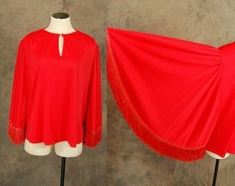 vintage 70s Batwing Blouse - Red Fringe Angel Sleeve Caftan Shirt Sz M L XL
