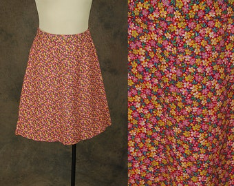 Clearance SALE vintage 60s Mini Skirt - 1960s Mod Ditsy Floral Mini Skirt Sz S