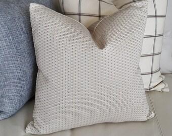 Cream Blue Pillow Covers, Cream Decorative Pillow, Cream Throw Pillow, Cream Sofa Cushions, Blue Pindots, Blue Dot Pillows, 18x18, NEW
