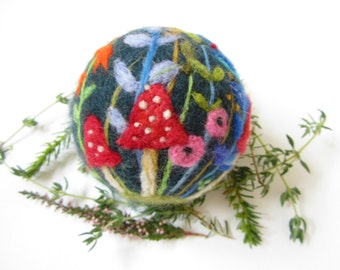 Needle Felted Ornament,Felted Christmas ornament,Whimsical ornament,Mushroom ornament,