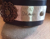 Up-Cycled Black Embossed Leather Cuff Bracelet with - BRAVE -Quote- Silver Metal