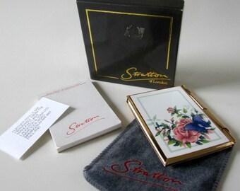 Stratton Enamel Butterfly Rose Floral Goldtone Note Pad Paper Holder Pen Rare Original Box England Velvet Pouch DDB7