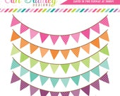 Colorful Pennant Banner Flags Clipart Clip Art for Personal & Commercial Use
