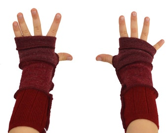 Kids Arm Warmers in Cranberry Burgundy Red Wine - Segmented Sleeves - Recycled Sweaters