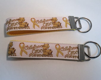 Childhood Cancer Yellow Key Fob