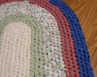 Spring Oval Recycled Rag rug Toothbrush Amish Knot