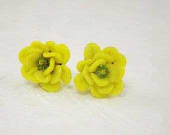 Yellow Art Glass Flower Earrings, West German Jewelry, Costume Jewelry, Signed Jewelry