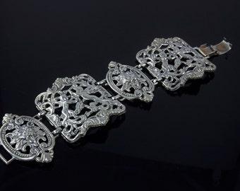 Wide Bracelet, Metal Filigree Jewelry, Angel Jewelry, Lion Cuff Bracelet, Bold Statement Jewelry, 1960's - 1970's Jewelry