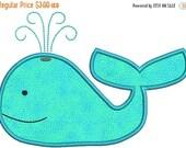 SALE 65% off Applique Whale Machine Embroidery Designs 4x4 & 5x7 Instant Download Sale