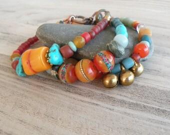 Triple Strand Bracelet, Colorful Beaded Bracelet, Rustic, Bohemian, Tribal, Ethnic, Wide Bracelet