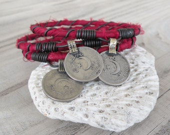 Silk Road Bangle Stack, 3 Piece Set, Silk Wrapped, Stacking Bracelets, Tribal Gypsy Jewelry, Dark Fuschia, Rose