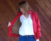 30% off ... Red Harrington Jacket with Plaid Lining - Vintage 80s - SMALL S
