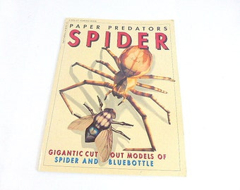 Paper Preadators Gigantic Cut Out Models of Spider and Bluebottle  Vintage Insect Book Vintage Summer Crafts Book for Children Home School