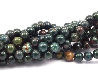 Blood Stone , 8mm, Round Shape Beads , Full Strand T018