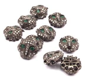 1 pcs Gunmetal Leopard Head Beads, CZ Micro Pave Bead 11mm  L02   R061