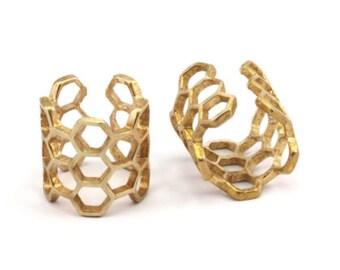 Brass Honeycomb Ring - 3 Raw Brass Adjustable Honeycomb Rings N014