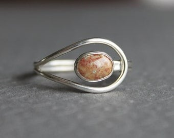 Fancy Jasper Sterling Silver Ring Orbit - Size 10 US/CANADA