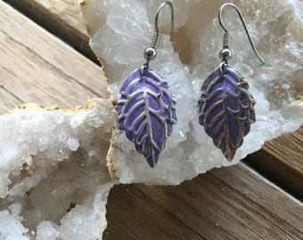 Magical Leaf Earrings, Purple Leaf Earrings, Hand Painted Gypsy Leaf Earrings