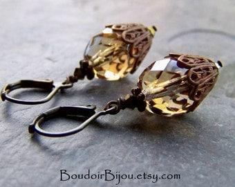 Dangle Earrings-Victorian Earrings-Crystal Earrings-Brass Earrings-Filigree Earrings-Celsian Glass Beads-Swarovski Crystals
