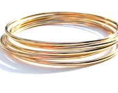 Thick 14K Gold Filled Bangles, Set of 5