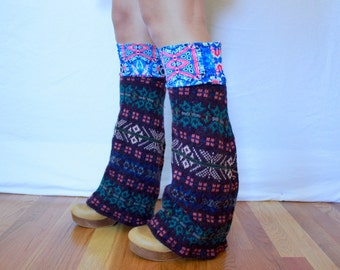 Gypsy Purple Fair Isle Upcycled Recycled Hybrid Eco Friendly Sweater Knit Flared Leg Warmers Legwarmers Boot Covers Accessories