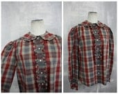 Vintage Ralph Lauren Gray + Burgundy Cotton Plaid Blouse with Peter Pan Collar for I. Magnin | Preppy 1980s | Womens Med Lg | 34-36 Bust