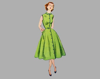 1952 One-Piece Dress Pattern Simplicity 3851, Bust 30 inches, Complete, Short sleeves or sleeveless, Simple to make, with or without collar