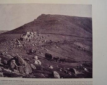 1894 Scenic Photography of America - Pike's Peak Colorado - Landscape Nature Antique Victorian Era Fine Art for Framing 100 Years Old