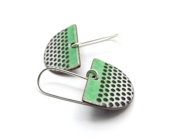Green Dangle Earrings - Green Enamel Earrings with Black Polka Dots - Green Semicircle Earrings