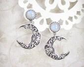 Celestial Light Silver Crescent Moon Earrings - Rainbow Moonstone Earrings, Drop Earrings, Post Earrings, Moonsong Collection