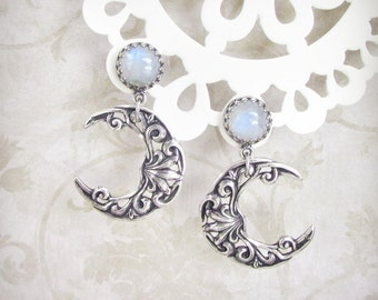 Celestial Light Silver Crescent Moon Earrings - Rainbow Moonstone Earrings, Drop Earrings, Post Earrings, Moonsong Collection