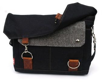 Waxed Canvas Messenger Bag / Recycled Black Herringbone Wool & Oiled Leather