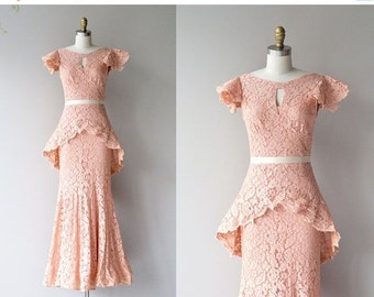 25% OFF.... Emmanuelle lace gown | vintage 1930s lace dress | long 30s dress