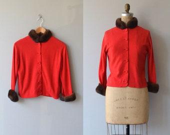 Dear Heart cardigan | vintage 1950s sweater | 50s mink collar cardigan