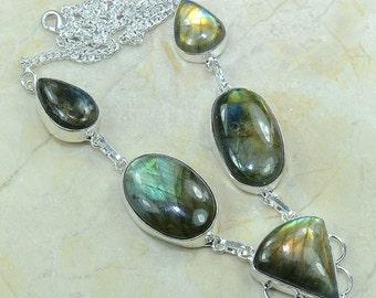 Spectrolite Labradorite Hand-Made Five Cab Silver Necklace