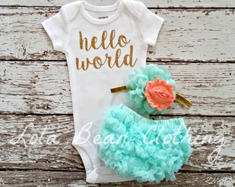 Baby Girl Take Home Outfit Newborn Baby Girl Hello World Bodysuit Bloomers Headband Set Mint Aqua Peach lolabeanclothing